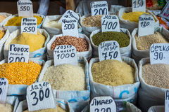 Cereals, rice and dry vegetables for sale in bags Stock Photography