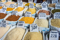 Cereals, rice and dry vegetables for sale in bags Royalty Free Stock Image