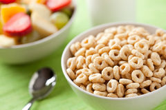 Cereals rings and fruit Royalty Free Stock Image