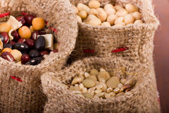 Cereals in sacks Stock Photos