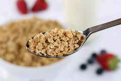 Cereals on spoon for breakfast Royalty Free Stock Photography