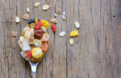 Cereals on a spoon Stock Image