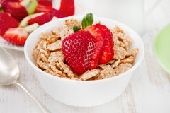 Cereals with strawberry in bowl Royalty Free Stock Photography