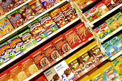 Cereals. A view from a wide selection of packaged cereals at the supermarket Royalty Free Stock Images