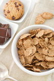 Cereals in white bowl and cookies Stock Image