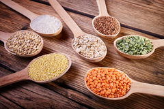 Cereals on the wooden table Stock Photography