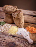 Cereals on the wooden table Stock Images
