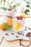 Cereals with yoghurt and fresh fruits Stock Photo