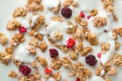 Cereals in yogurt Stock Photo