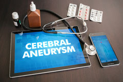 Cerebral aneurysm (heart disorder) diagnosis medical concept on. Tablet screen with stethoscope royalty free stock image