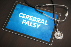 Cerebral palsy (neurological disorder) diagnosis medical concept. On tablet screen with stethoscope royalty free stock photo