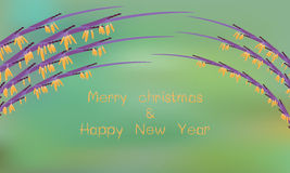 Cerebration background with grass flower on green. Greeting card for merry christmas and happy new year2016,Cerebration background with grass flower on green stock illustration