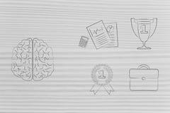 Cerebro al lado del grupo de los iconos relacionados con el trabajo y del 1r trofeo a del lugar Imagen de archivo libre de regalías