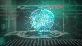 Cerebro animado de la composición de la ciencia combinado con los ejemplos coloreados en azul y gre almacen de video