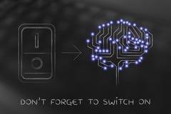 Cerebro artificial con el interruptor girado fotografía de archivo libre de regalías