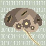 Cerebro cibernético con los microprocesadores y los engranajes en el fondo del código binario stock de ilustración