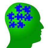 Cerebro como pedazos del rompecabezas en cabeza Imagen de archivo libre de regalías