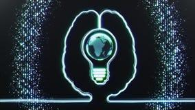 Cerebro con el mundo en un bulbo dentro libre illustration
