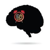 Cerebro con el tiempo de reloj para el vector del café Imágenes de archivo libres de regalías