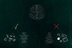 Cerebro con emociones positivas y negativas con los iconos y el ti imagen de archivo libre de regalías
