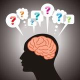 Cerebro con la burbuja del discurso y el signo de interrogación Imagen de archivo