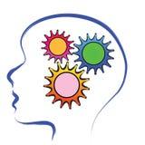 Cerebro con los engranajes Imágenes de archivo libres de regalías