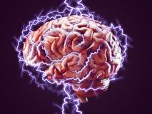 Cerebro con los relámpagos, concepto del intercambio de ideas Imagen de archivo libre de regalías