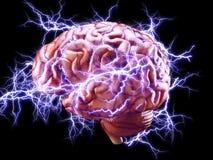 Cerebro con los relámpagos, concepto del intercambio de ideas Fotos de archivo