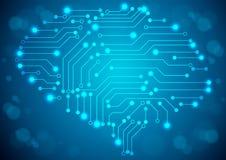 Cerebro con textura de la placa de circuito Foto de archivo libre de regalías