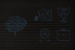 Cerebro de Digitaces al lado del grupo de iconos relacionados con el trabajo y de 1r lugar Imágenes de archivo libres de regalías
