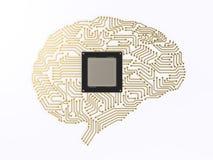 Cerebro de la CPU ai Foto de archivo libre de regalías
