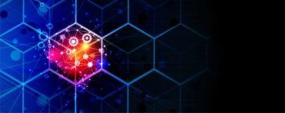 Cerebro de la inteligencia artificial en cubo Fondo del web de la tecnología Concentrado virtual ilustración del vector