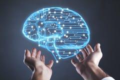 Cerebro de la mano del hombre en pantalla ilustración del vector