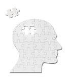 Cerebro de la mente de la silueta de la cabeza de la solución del juego del rompecabezas Imagen de archivo libre de regalías