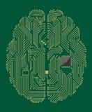 Cerebro de la placa madre con el ordenador