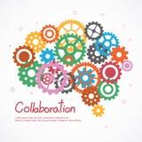 Cerebro de los engranajes para la cooperación o el trabajo en equipo stock de ilustración