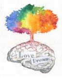 Cerebro del amor y de los sueños stock de ilustración