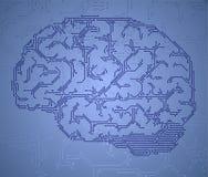Cerebro del estilo del ordenador ilustración del vector