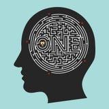 Cerebro del laberinto; Fondo interior del vector de la mente Imagen de archivo