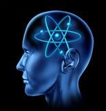 Cerebro del símbolo de la ciencia de la molécula del átomo Foto de archivo libre de regalías