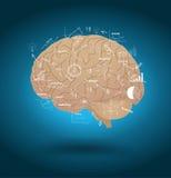 Cerebro del vector con plan de la estrategia empresarial del dibujo Imágenes de archivo libres de regalías