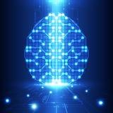 Cerebro digital abstracto del circuito eléctrico, concepto de la tecnología Foto de archivo libre de regalías