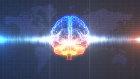 Cerebro digital anaranjado y azul del intercambio de ideas - con la animación de la onda cerebral