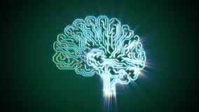 Cerebro electrónico que pulsa con los rayos stock de ilustración