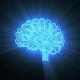 Cerebro electrónico en negro con un brillo Imagen de archivo libre de regalías