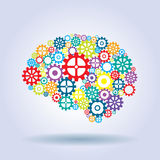 Cerebro humano con los engranajes Fotografía de archivo libre de regalías