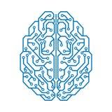 Cerebro humano con los enlaces de los nervios - vector de la tecnología creativa stock de ilustración