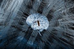 Cerebro humano e inteligencia artificial Imagen de archivo libre de regalías