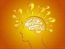 Cerebro humano en color de oro Fotografía de archivo libre de regalías