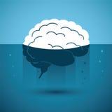 Cerebro humano en líquido extraño Concepto del vector ilustración del vector
